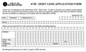 SBI ATM Card Application Form download