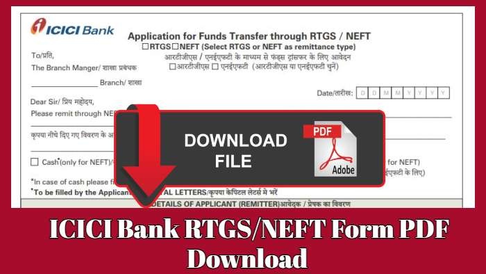 ICICI Bank RTGS Form PDF Download