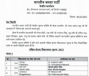 BJP Candidate List 2021