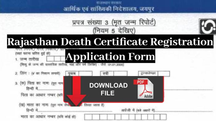 Death Certificate Form Rajasthan