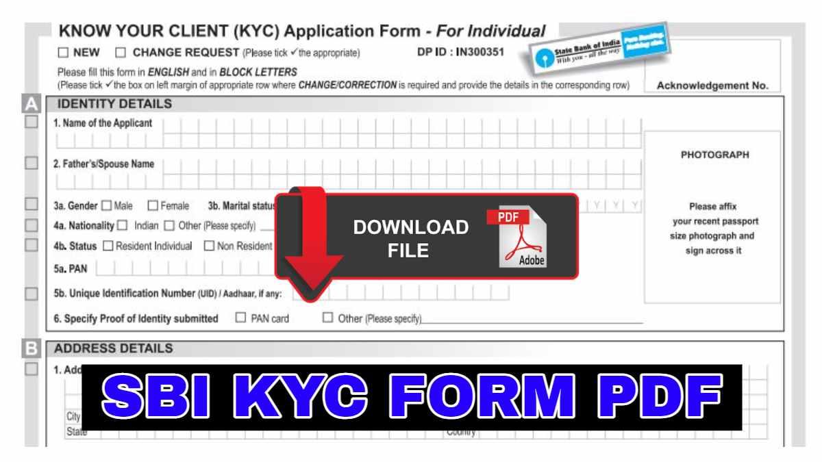 SBI KYC FORM PDF DOWNLOAD
